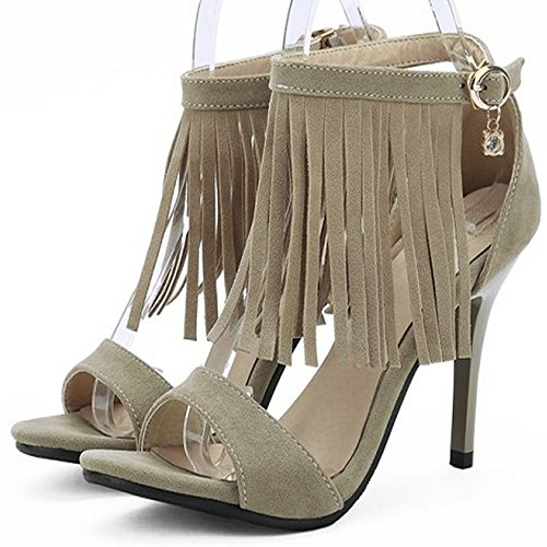 Buckle Heel Sandals Tassels High Heel Women's Fashion Shoes Cover Khaki LongFengMa Y1qgBB