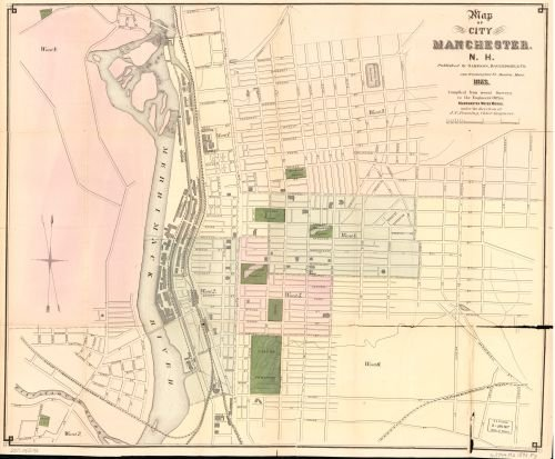 1873 Map of the City of Manchester, N.H. : compiled from recent surveys in the Engineers Office, - Shopping Nh Manchester