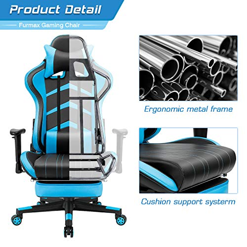 Furmax Gaming Chair High Back Office Racing Chair, Ergonomic Swivel Computer Chair Executive Leather Desk Chair with Footrest, Bucket Seat and Lumbar Support (Blue)