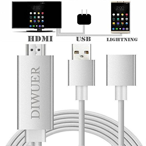 Av Tv Usb Cable (DIWUER Lightning to HDMI Cable Adapter Lightning Digital AV Adapter 1080P HDMI Converter for iPhone iPad Samsung(Silver) )