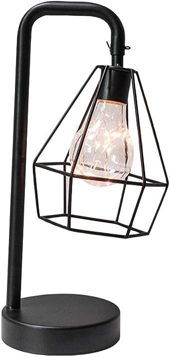 Lámpara de mesa vintage de hierro de diamante LED luz nocturna funciona con pilas, alambre geométrico