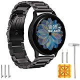 Aresh Compatible with Galaxy Watch Active2 40mm Bands&Active 2 44mm Band,20mm Stainless Steel Strap Compatible for Samsung Galaxy Watch Active 2(Black)