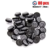 Chair Leg Protectors for Wooden Floors Heavy Duty FeltFurniture Pads Nail-on Anti-sliding 80pcs Chair Leg Floor Protectors for Wooden Furniture Table Feet Glides By Ravmix (Dia 1.1inches, Black)