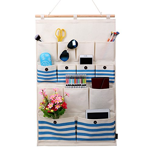 Homecube Linen/Cotton Fabric 13 Pockets Wall Door Closet Hanging Storage  Bag Organizer,White Polka Dots/Navy Stripe (Navy Stripe)