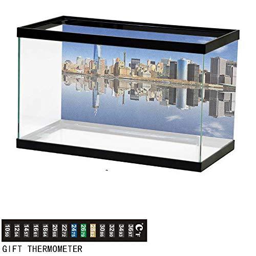 (Jinguizi New York CityFish Tank BackdropManhattan Island Silhouette with Skyscrapers Towers Famous Island60 L X 24