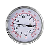 63mm 0-120°C Barbecue BBQ Pit Smoker Grill Thermometer Temperature Gauge