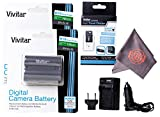 2 Pack of EN-EL3E Vivitar Ultra High Capacity Rechargeable 1900mAh Li-ion Batteries + AC/DC Vivitar Rapid Travel Charger + Microfiber Lens Cleaning Cloth ENEL3E EL3E (Nikon EN-EL3E Replacement)