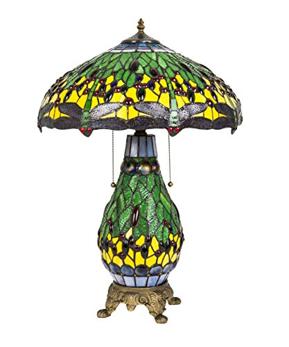 Green Dragonfly Tiffany Styletable Lamp Tiffany Desk Lamp 27-inch with Night Lighted Base