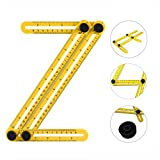 Angle-izer Template Tool with 4-Sided Multi-Angle Ruler Measures Both Inches and Centimeters for Builders Craftsmen Home Industry