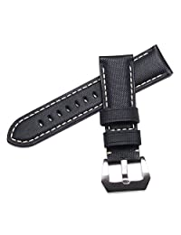 WatchAssassin Fabric Sail-cloth Canvas-style Padded Black Watch Strap 22mm