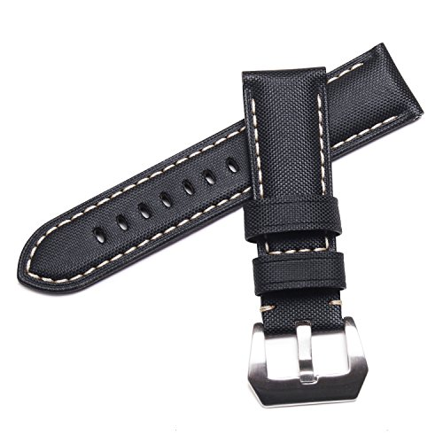 WatchAssassin Fabric Sail-cloth Canvas-style Padded Black Watch Strap ()