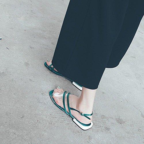 Transparentes Chaussures Plates Bouton PVC Fashion Romaine Vert Fées Plates Sandales Mot NSX 7qUAnA