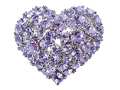 (Alilang Crystal Rhinestone Valentine Heart Love Brooch Pin, Purple)