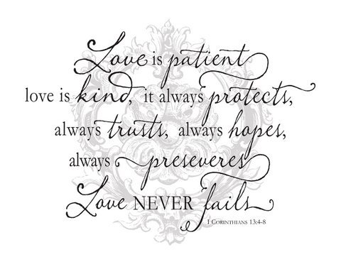 Jada Venia / Kindred Hearts - Inspirational Accent Lamp / Light Box Insert: ''Love is patient, love is kind...'' (9 3/4'' x 7 1/2'') - #1-339 by Jada Venia / Kindred Hearts
