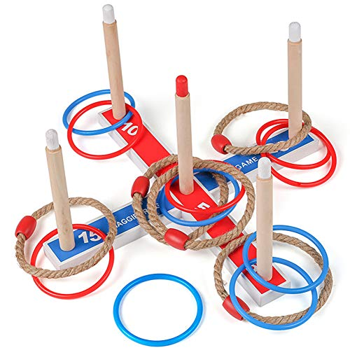 Juegoal Ring Toss Throwing Game Indoor Outdoor Game with 5 Ropes 10 Plastic Rings for Kids]()