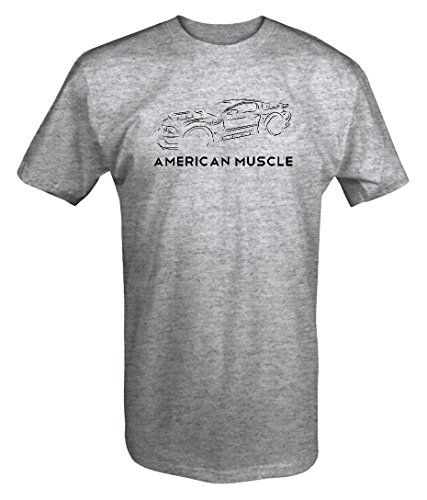 American Muscle Street Racing Ford Mustang Shelby Cobra GT V8 T Shirt -Medium Heather Grey