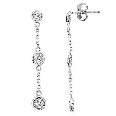 9f79f880f601c Amazon.com: Diamonds by The Yard Bezel-Set Drop Earrings 14k White ...