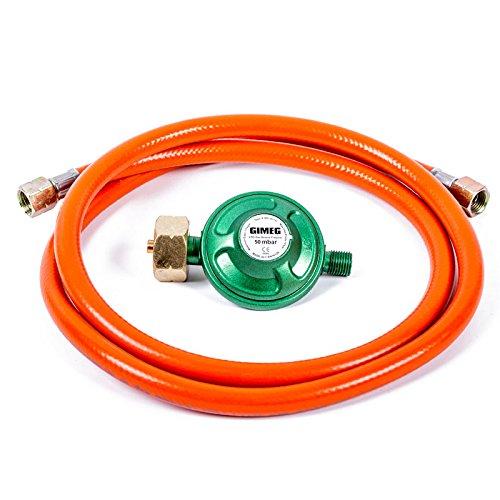 'Regolatore di pressione del gas 50mbar con tubo 1,5meter e 1,4vite schluessen Gimeg
