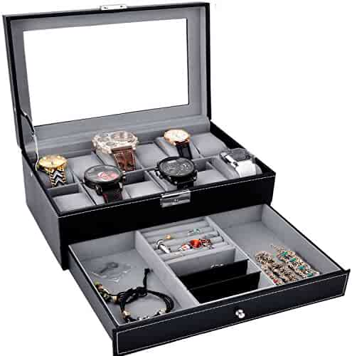 Watch Box Black Leather Watch Display Box 12 Slot Watch Organizer Lockable Jewelry Case w/Glass Top Drawer, Birthday Christmas Gifts for Men Women, Dad Husband Grandpa