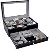 Watch Box Black Leather Watch Display Box 12 Slot Watch Organizer Lockable Jewelry Case w/Glass Top Drawer, Wedding Birthday Gifts for Men Women, Dad Husband Grandpa (Black)