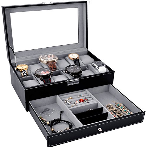 (Watch Box Black Leather Watch Display Box 12 Slot Watch Organizer Lockable Jewelry Case w/Glass Top Drawer, Birthday Gifts for Men Women, Dad Husband Grandpa)