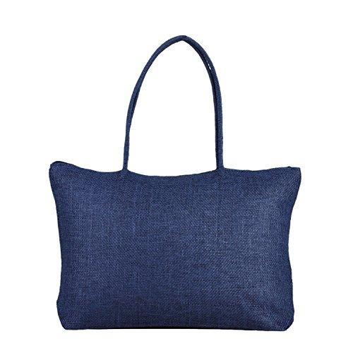 RdChicLog Bolso de hombro tejido color sólido de la bolsa de la playa de la paja de las mujeres totalizador Azul Marino