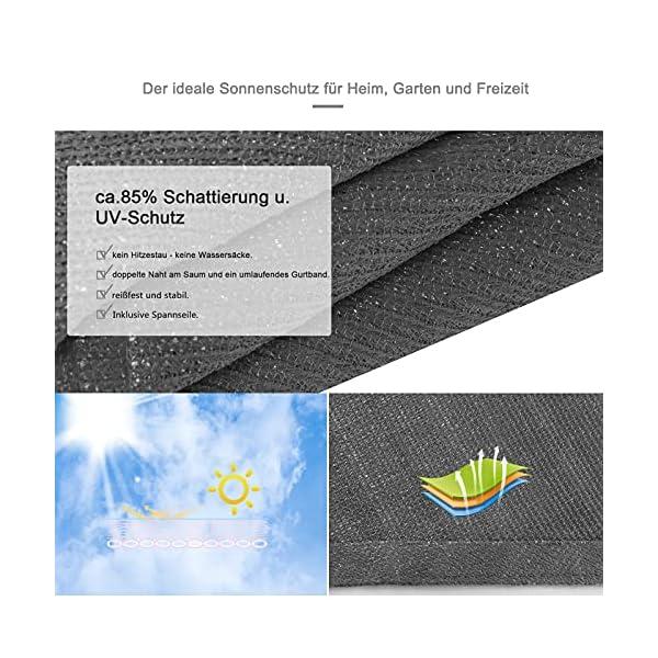 51Vcqr4SQJS EUGAD Sonnensegel Quadrat 2x2m Sonnenschutz 200g/m² Garten Balkon Terrasse HDPE Wetterschutz atmungsaktiv Grau 0177ZYF