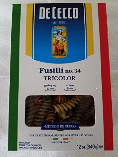 De Cecco Pasta, Fusilli Tricolor Pasta, 12 Ounce (Pack of 12)