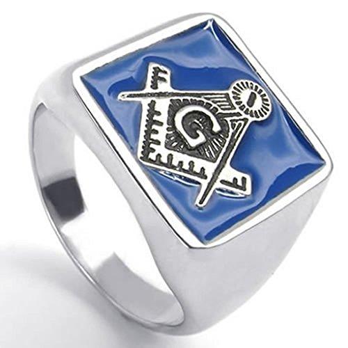 Bishilin-Stainless-Steel-Fashion-Mens-Rings-Embossed-Stamped-Masonic-Freemason-Silver-Blue