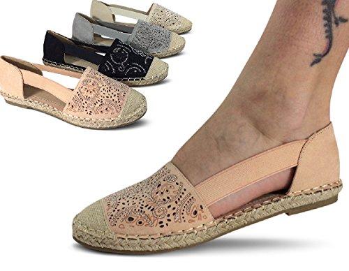 Damen Espadrilles Ballerinas Glitzer Halbschuhe Slipper Sneakers ST737 Beige