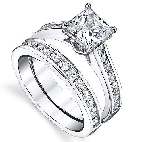 amazoncom sterling silver princess cut bridal set engagement wedding ring bands with cubic zirconia jewelry - Princess Cut Wedding Rings Sets
