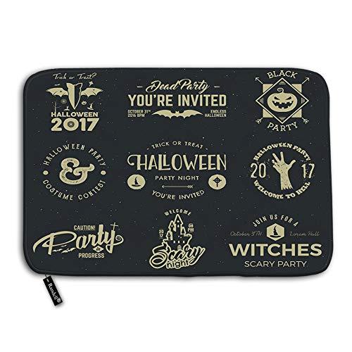 Axtuxdell Bathroom Doormat Halloween 2017 Party Label templates Scary Symbols Zombie Hand Witch hat bat Pumpkin no Slip Bed Doormat