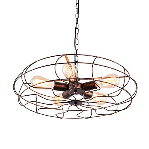 (OYI Vintage Industrial Retro Ceiling Chandelier Light, 5 Light Semi Flush Mount Oil Rubbed Bronze Hanging Light Fixtures Fan Cage Style Rustic Pendant Lamp (Rust-39inch Chain) )
