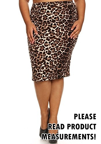 Women's Plus Size Pencil Skirt Pattern and Solid Slim Fit Stretch Elastic Waist (3X, Leopard)