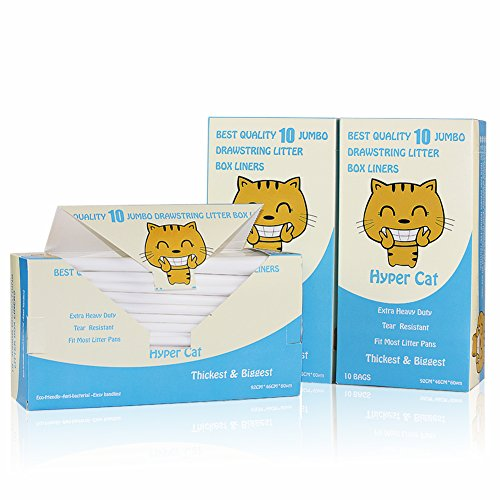 UPC 602815635288, Hyper Cat 30 Counts of 3 Packs Extra Heavy Duty Jumbo Size Cat Pan Liners With Green Drawsting Cat Box Liners Anti-Microbial Tear Resistant