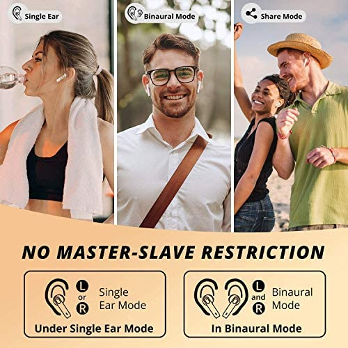 Wireless Earbuds, Bluetooth 5.0 Earbuds Touch Control in-Ear True Wireless Headphones, 24H Charging Case, Hi-Fi Stereo Earbuds with Built-in Mic for iPhone/Android/Airpods/Apple Ear Buds (White)