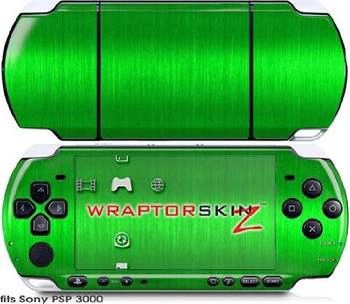 Sony PSP 3000 Decal Style Skin - Brushed Metal Green (OEM - Faceplate Oem Green