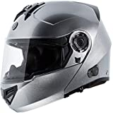 TORC T27 Full Face Modular Helmet with Integrated Blinc Bluetooth (Silver, X-Large