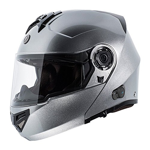 (TORC T27 Full Face Modular Helmet with Integrated Blinc Bluetooth (Silver, X-Large))