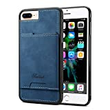 Cover Compatible with 8P 6+ 7Plus Apple iPhone Case,TACOO Slim Pu Leather Card Pocket Firm Kickstand Simplicity Protective Men Girl Shell