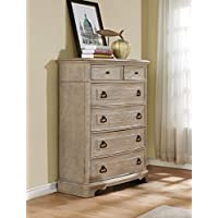 Roundhill Furniture B296C Piraeus 296 6 Drawers White Wash Chest