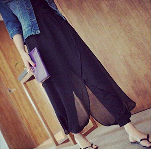 Damas Chiffon Anchas Pantalones Negro De Pluderhose Mujeres Sólido Cómodo Verano Taille Libre Color Ligero Casuales Elastische Tiempo Battercake Harem ntYSR848