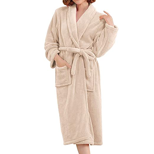 d2b853cf66 Image Unavailable. Image not available for. Color  Flannel Robe-Women Long  Warm Bathrobe for Winter