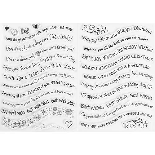 Happy Birthday Clear Stamp - MaGuo Happy Birthday Clear Stamps Best Wishes Word and Phrase Image for Card Making Greeting Phrases Clear Stamps DIY Scrapbooking