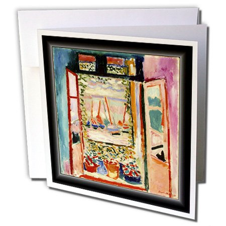 Matisse Rose (3dRose Matisse Painting The Open Window - Greeting Cards, 6 x 6 inches, set of 6 (gc_56088_1))