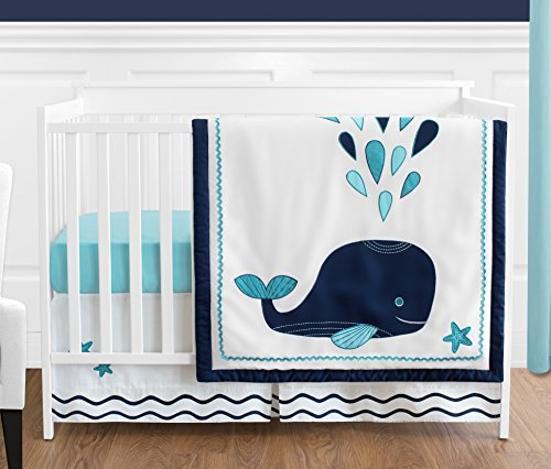 Turquoise, Navy Blue and White Whale Nautical Ocean Baby Boys or Girls 4 Piece Crib Bedding Set Without Bumper