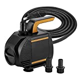 KEDSUM 620GPH Submersible Pump(2800L/H,55w),Ultra Quiet Water Pump with 7.5ft High Lift, Fountain Pump with 5 ft Power Cord, 3 Nozzles for Fish Tank, Pond, Aquarium, Statuary, Hydroponics