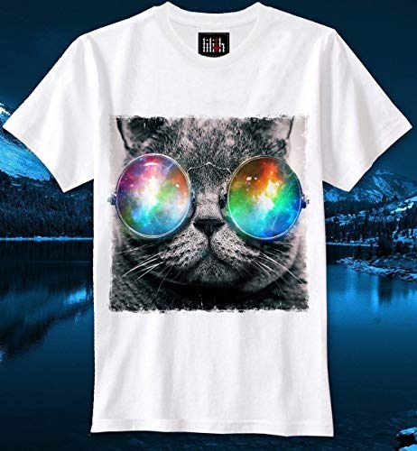 T-shirt Cat Katze Sunnies Sonnenbrille Lennon Dope Hipster Swag Lsd Space Universe Galaxy Trippy Fun Funny (T Sonnenbrille)