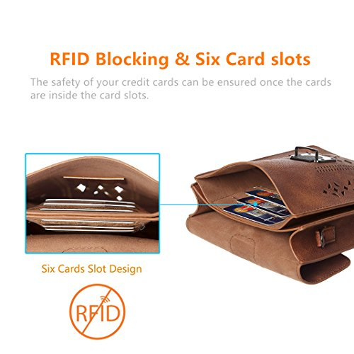 Small Wallet Cell Crossbody Hollow With thicker Minicat rfid Women Credit Purse Phone Texture Blocking Brown Bags Card Slots wnYzqtHq