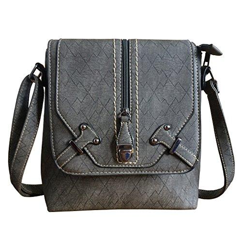 Zipper Crossbody Satchel Bag Medium Purse Front Messenger Top Women's Shoulder FanCarry Grey Flap USxq8f